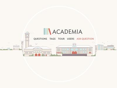 Academia illustration logo minimalist illustration town city building university stack exchange vector simple line academy