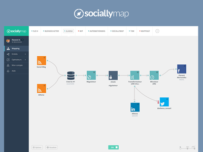 Sociallymap redesign feed widget app navigation navigation app menu flat app app user interface ui user experience ux sociallymap