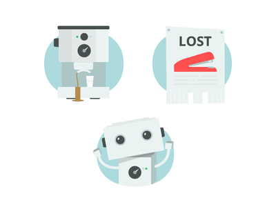 Workplace illustrations illustrations coffee machine robot captcha error 404 poster stapler workplace stack exchange vector clean