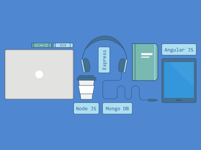Tech Stack stack overflow illustration blue coffee headset phone tech essentials icons
