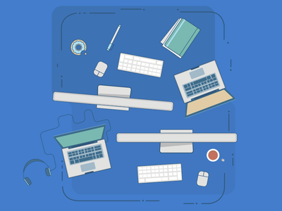 Team collaboration illustration illustration tech mac laptop essentials blue stack overflow