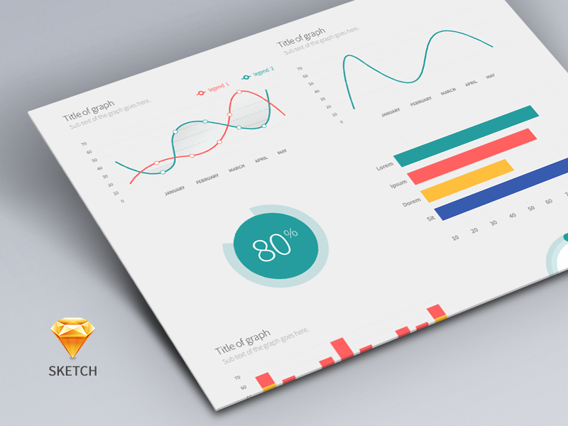 Freebie - Sketch Charts and Graphs bar line pie graph chart charts sketch free freebie