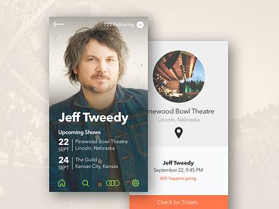 Artist Details for Concert App profile music concert