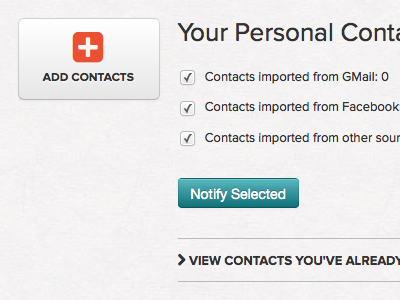 Personal Contacts section for new client app web app uiux
