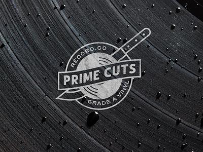 Prime Cuts Record Co. Logo knife analog records brand design branding design meat deli audio vinyl record brand logo