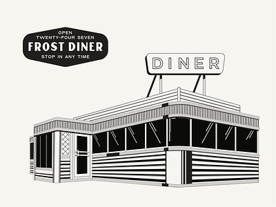 Frost Diner old school 50s line retro diner illustration