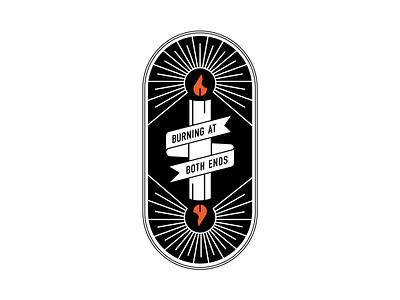 Burning at both ends flame light candlelight candlestick badge badge logo illustration candle