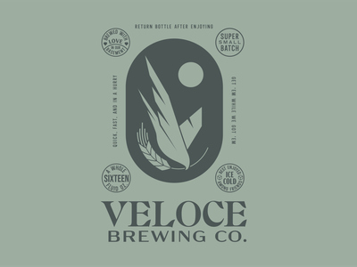 Veloce Brewing Co. badge alcohol wheat beverage green branding brewing beer falcon bird logo
