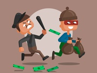 Illustration of a police officer and a masked thief.