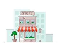 Store front building with city background