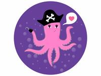 Cute cartoon octopus over water,