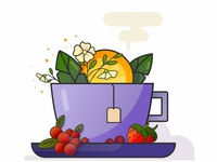 Cup fruits vector illustration