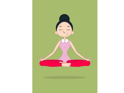 cute girl practicing yoga vector illustration