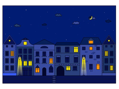 Night cityscape vector illustration