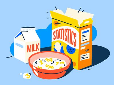 Statistics for Breakfast milk breakfast statistics artwork sales streaming illustration