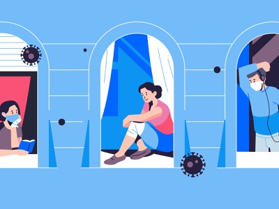 Stay at home 🏠 2020 help disease people vector illustration