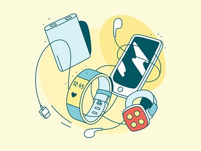 Electronics watch phone electronics vector illustration
