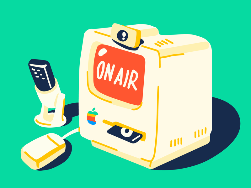 Apple or NEXT? restream streaming stream old fashion computer on air apple illustration