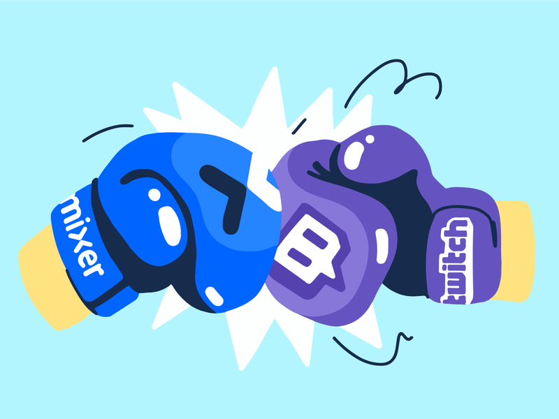 Twitch vs. Mixer glove boxing gloves minimalism restream live streaming boxing fight ninja twitch mixer streaming illustration