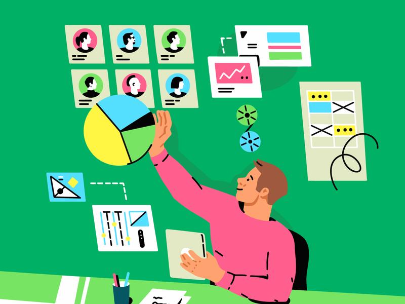 🔬Data Science flat illustration flat guy infographics man big data science illustration data visualization