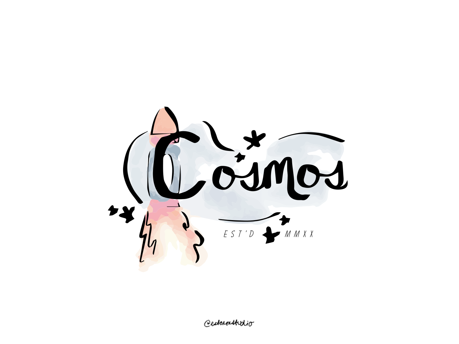 01 / Cosmos daily logo design daily logo challenge typography vector campaign logo advertising website branding whimsical minimal icon watercolor illustration design