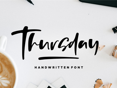 Thursday Vibes - Handwritten Font joy simple vintage bold calligraphy urban retro lettering typographic art graphic sign modern letter typeface design typography alphabet font
