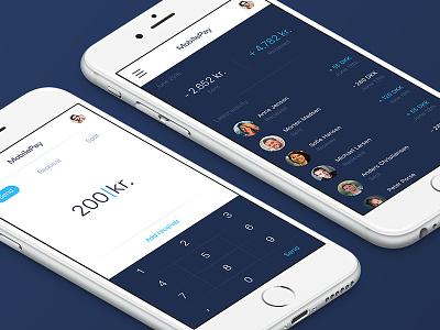 MobilePay re-design payment send transfer design ux ui ios app bank money pay mobilepay