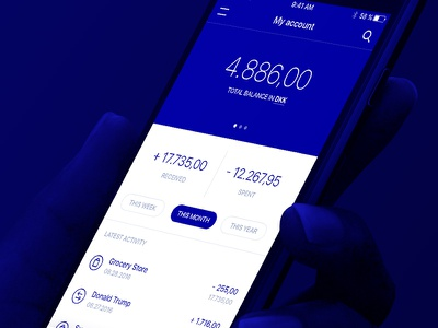 Your bank account payment send transfer design ux ui ios app bank money pay mobilepay