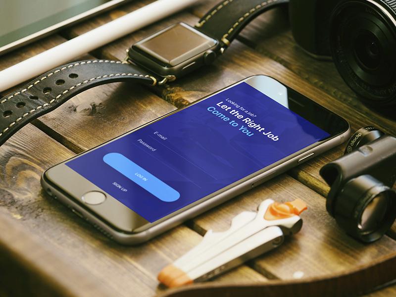 Login for a Job App signup login job app ui ux blue work business employee worker schedule