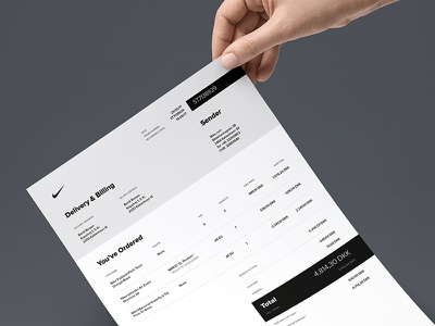 Nike Invoice receipt bill order mockup sheet a4 sport nike invoice paper print