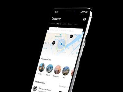 Looking for a tattoo studio? discover booking shop search city map ux ui app tattoodo studio tattoo