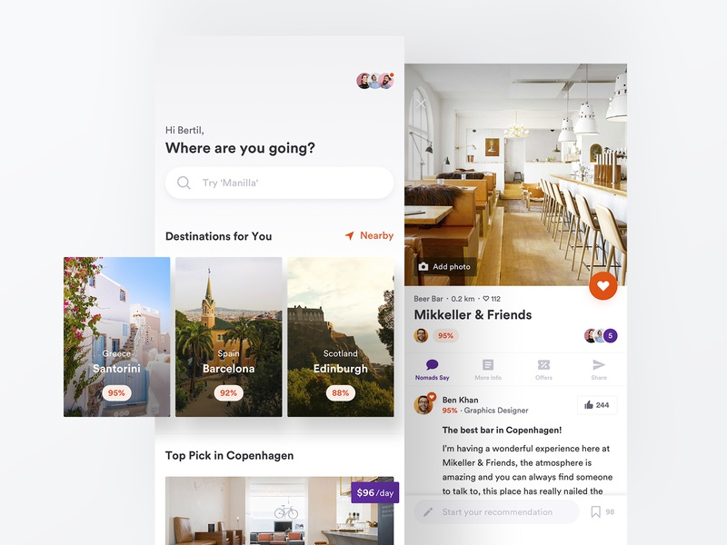 A New Way of Traveling travel ui ux map review recommend trip tripadvisor airbnb destination feed nomad guide trail city app nearby holiday vacation coworking