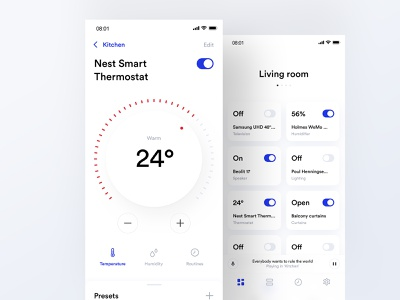 Control Your Home design smart home automation app ui ux clean minimalistic control light heat aircon