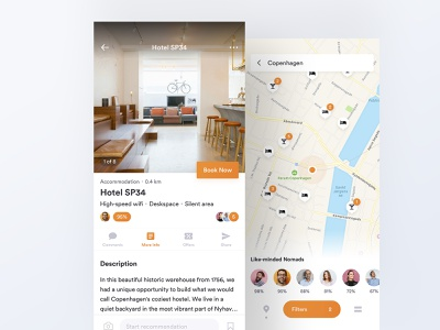 Like-minded travelers recommendation review accommodation booking hotel booking nomad work hotel search filter map expedia airbnb trip orange app ux ui vacation travel