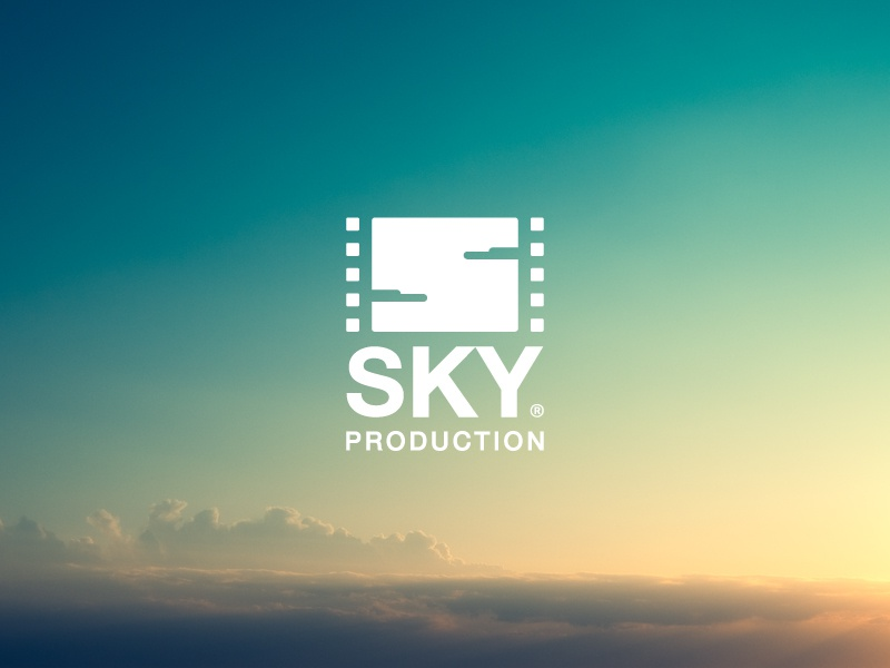 Sky Production brand branding logo sky production arabic design jozoor blue cinema film