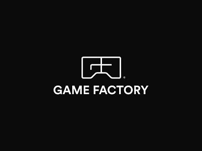 Game Factory black  white branding logo gf games gaming playing factory game