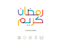 Colorful Ramadan Kareem Typography & Icons