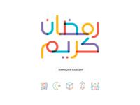 Colorful Ramadan Kareem Typography & Icons