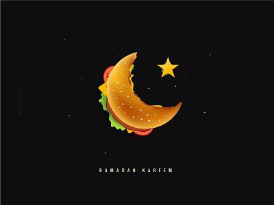 Ramadan Kareem crescent hamburger arabic typography arabic icon islamic icon ramadan icon ramadan typography colorful ramadan kreem ramadan burger