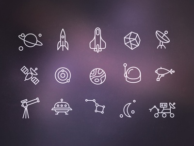 Space Icons icons icon glyphs iconography space galaxy moon alien future