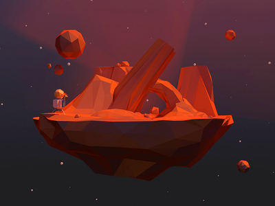 Mini Red Poly-Planet 3d c4d poly polygon geo geometric planet space red lander
