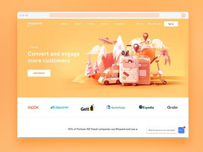 Travel Industry yellow orange warm data visulization data world suitcase travel web design illustration c4d 3d