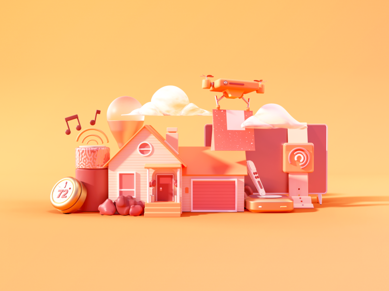 Connected Home infographic technology house home yellow orange warm iot home automation home app illustration c4d 3d