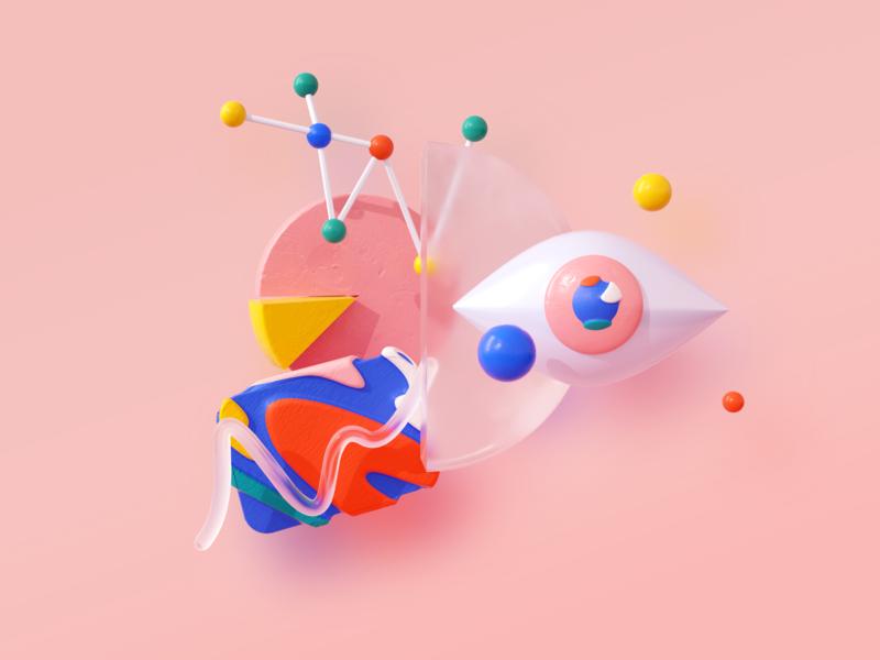 3D Data Vis data visualization data analytics data peach pink texture app illustration c4d 3d