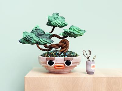 Bonsai Guy surreal abstract tree eyes plant japan bonsai illustration c4d 3d