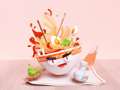 Raging Ramen wasabi abstract surreal japan character design noodles ramen illustration c4d 3d