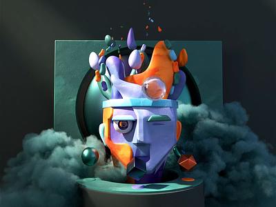 NFT 04 - Mastermind face texture mastermind origin art abstract motion graphics animation illustration c4d 3d