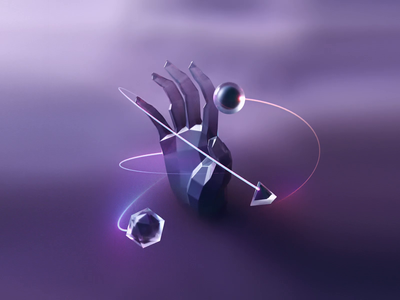 Out of the Chaos galaxy loop animated animation nft creation universe hand illustration c4d 3d
