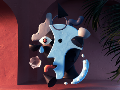 Harlequin moody abstract picasso illustration c4d 3d