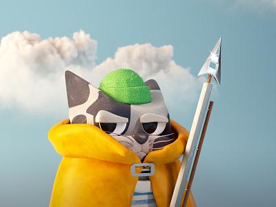 Sailor Cat harpoon sailor cat sailor cat character design character illustration c4d 3d